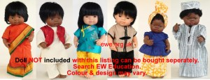 Set of 6 dolls costumes